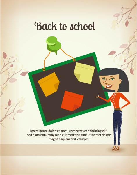 Back to school vector illustration with teacher and pinboard Vector Illustrations vector