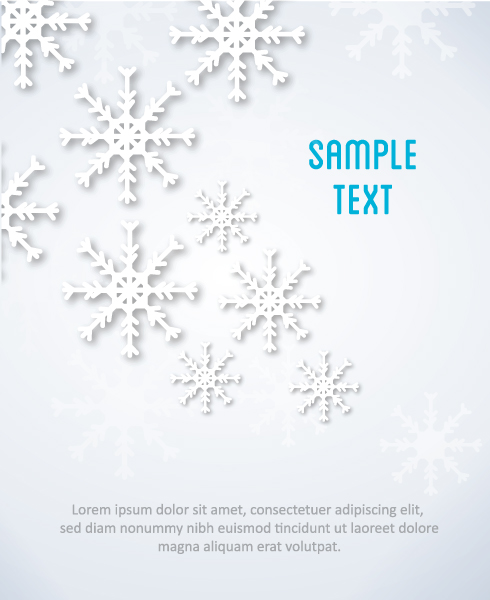 3D abstract vector illustration with snowflakes 2015 04 04 266