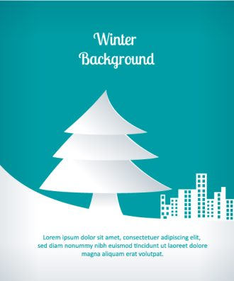 3D abstract vector illustration with christmas tree and buildings Vector Illustrations tree