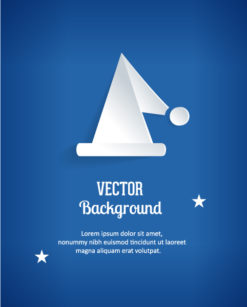 3D abstract vector illustration with sticker santa hat Vector Illustrations tree