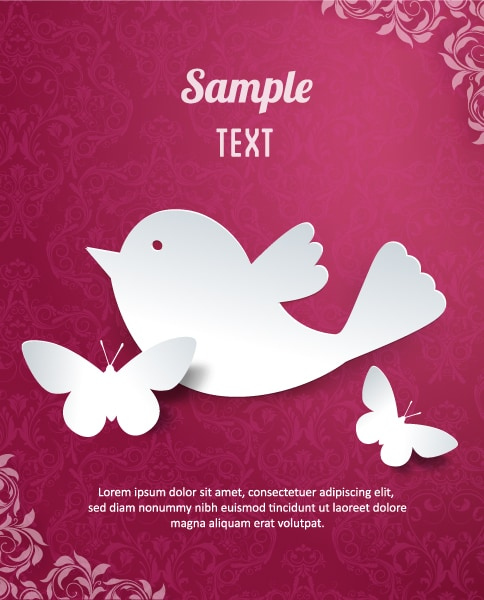 Clean Vector Background: 3d Abstract Vector Background Illustration With Butterflies And Flower 5