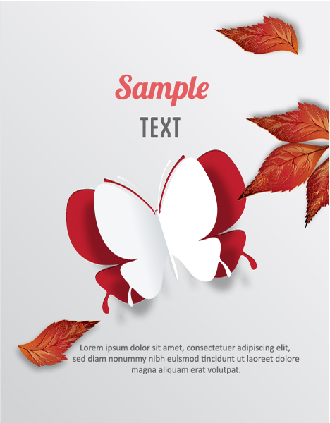 Illustration, Leaves Eps Vector 3d Abstract Vector Illustration  Butterflies  Leaves 2015 04 04 393