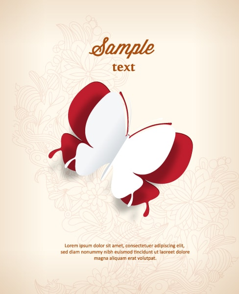 3d Vector Artwork 3d Abstract Vector Illustration  Butterflies  Flower 5