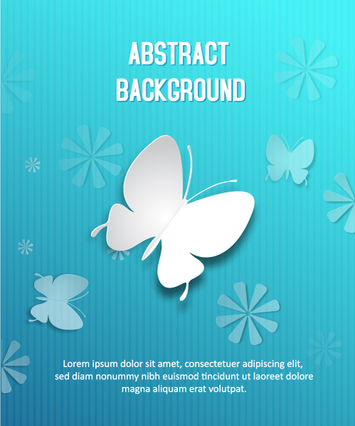 3D abstract vector illustration with butterflies 5