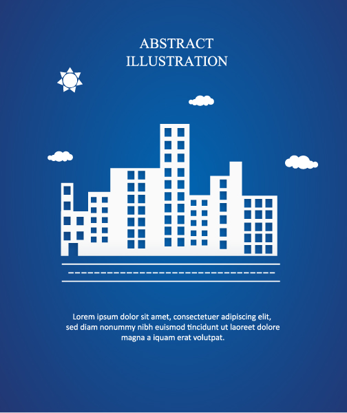 Buildings Vector Illustration: 3d Abstract Vector Illustration Illustration With Buildings And Clouds And Birds 5