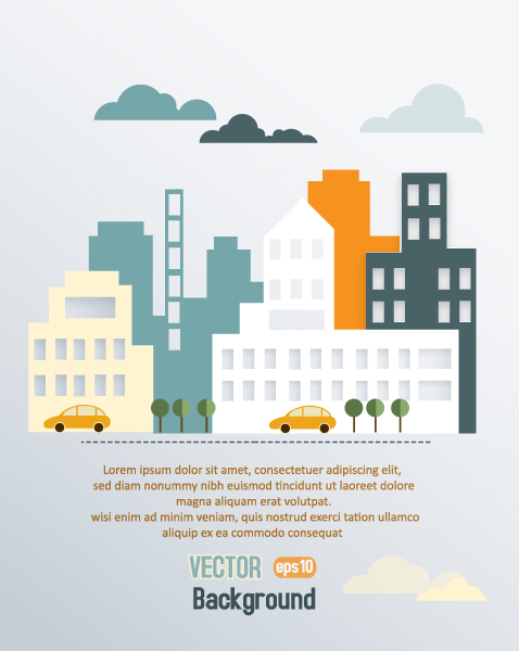 Stunning Urban Vector: 3d Abstract Vector Illustration With Buildings And Clouds And Birds 2015 04 04 417