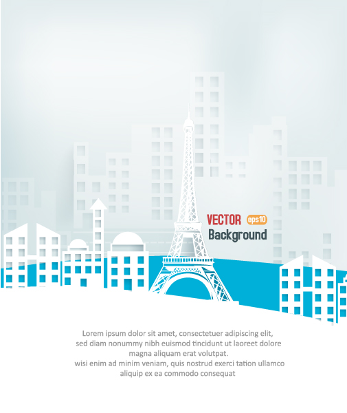 Trendy Illustration Vector Image: 3d Abstract Vector Image Illustration With Buildings And Clouds And Birds 2015 04 04 420