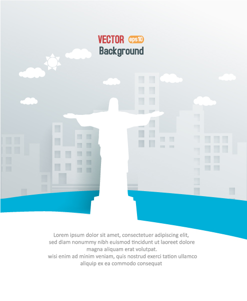 Statues Vector: 3d Abstract Vector Illustration With Buildings And Clouds And Statues 5