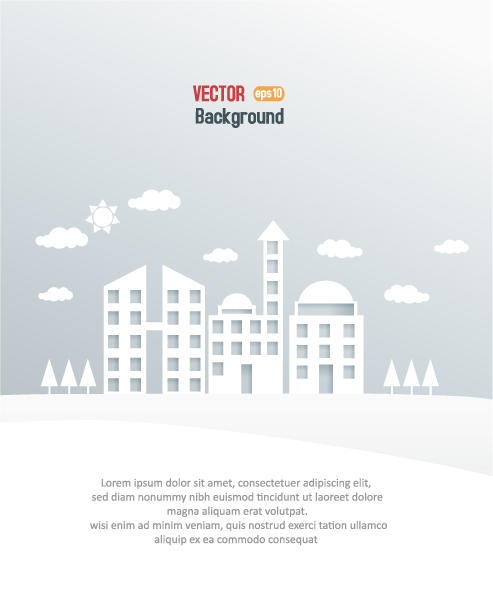 Illustration, 3d Vector Art 3d Abstract Vector Illustration  Clouds  Buildings 5
