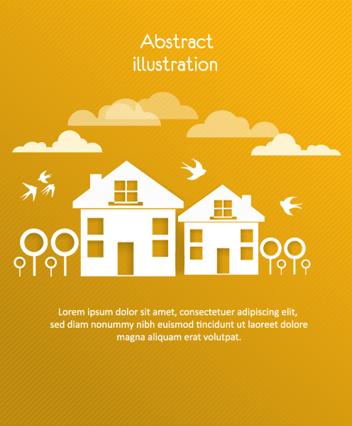 Gorgeous 3d Vector Design: 3d Abstract Vector Design Illustration With Buildings And Clouds And Birds 2015 04 04 427
