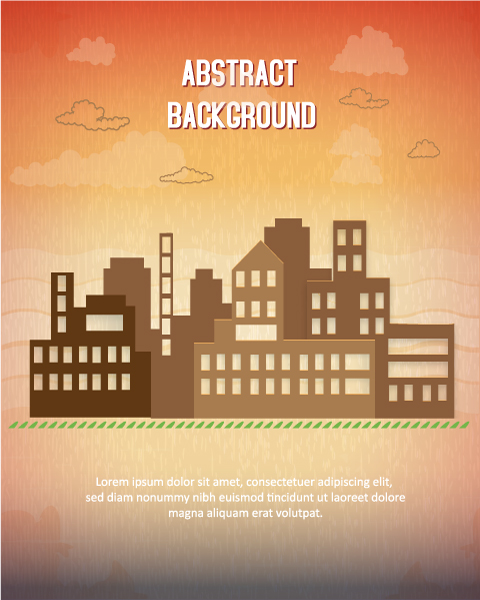 Clouds Vector Background: 3d Abstract Vector Background Illustration With Buildings And Clouds 1