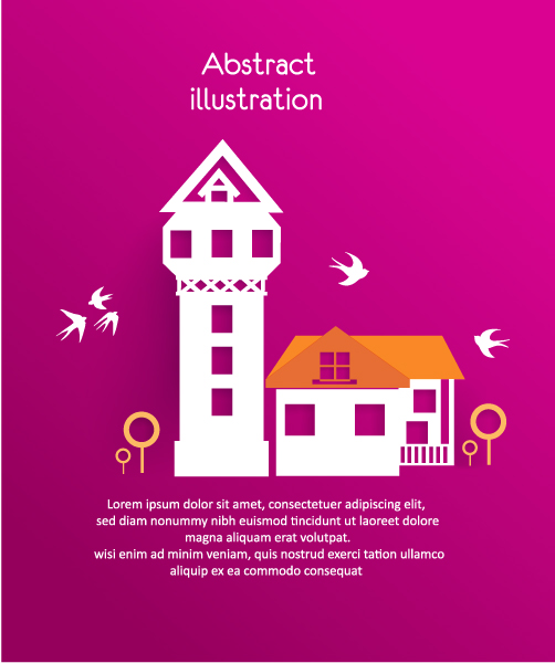 3D abstract vector illustration with buildings and clouds and birds Vector Illustrations urban