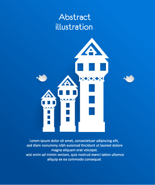 Trendy 3d Vector: 3d Abstract Vector Illustration With Buildings And Clouds And Birds 2015 04 04 431