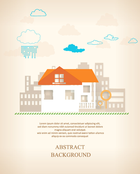 3d Vector Image 3d Abstract Vector Illustration  Buildings  Clouds 5