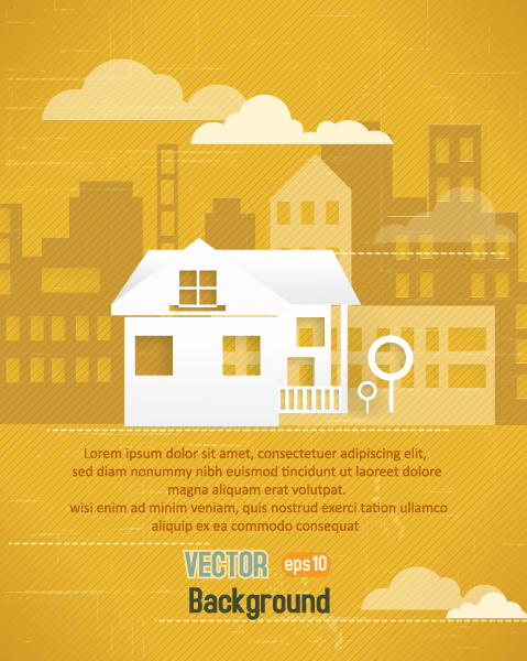 3d Vector Art 3d Abstract Vector Illustration  Buildings  Clouds 5
