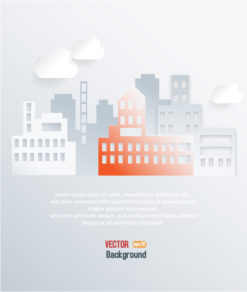 3D abstract vector illustration with buildings and clouds Vector Illustrations urban