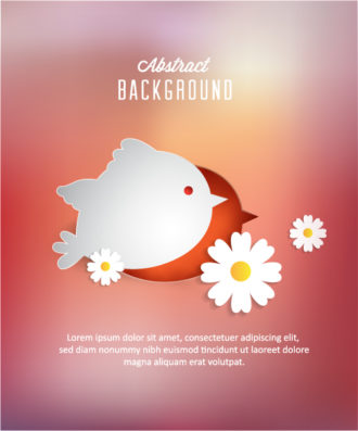 3D abstract vector illustration with abstract sticker birds and flowers Vector Illustrations urban