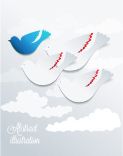 3D abstract vector illustration with birds and clouds Vector Illustrations urban