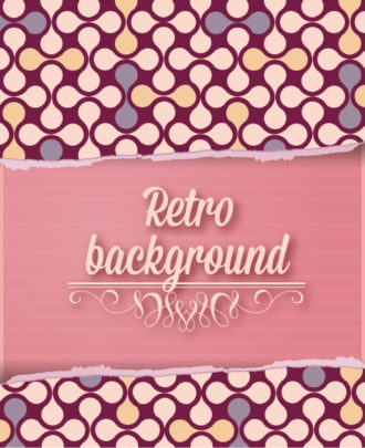 retro vector floral background with torn paper Vector Illustrations summer