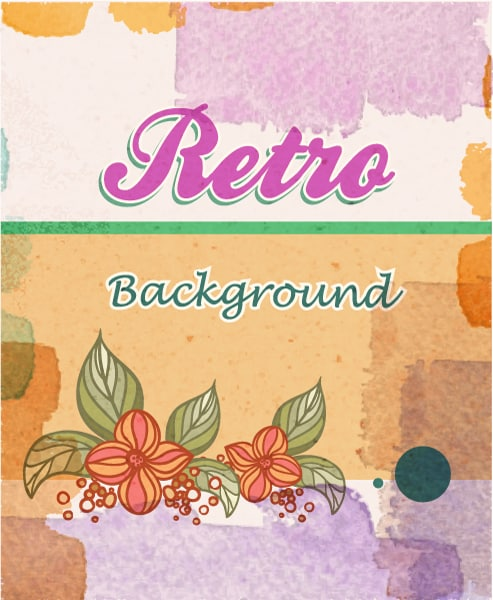 retro vector floral background Vector Illustrations summer