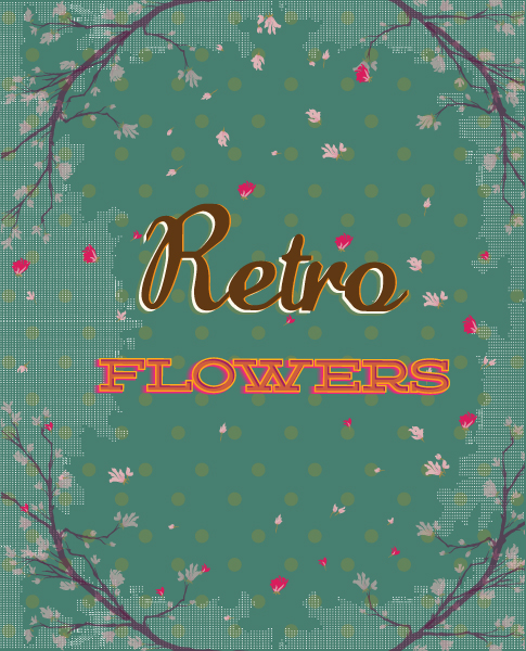 retro vector floral background with retro flowers and texture Vector Illustrations summer