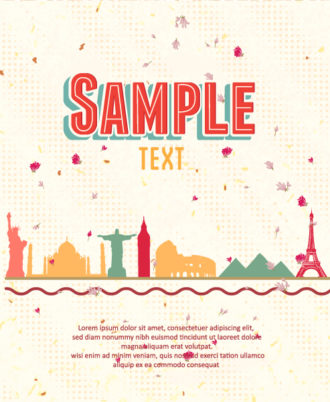 retro vector floral background with retro buildings Vector Illustrations summer