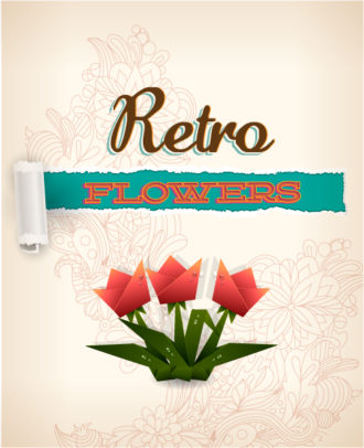 retro vector floral background with origami and doodle flowers Vector Illustrations summer