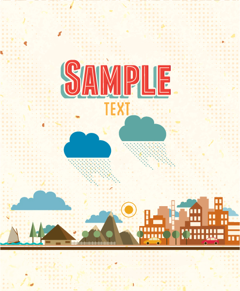 retro vector floral background with retro clouds, house, trees, mountains Vector Illustrations summer