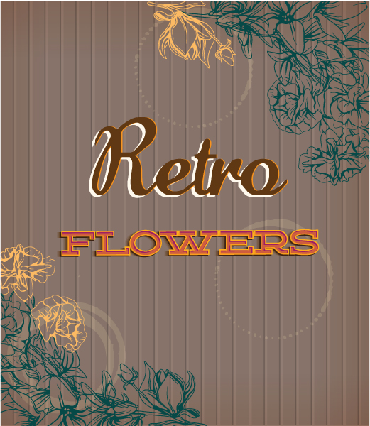 retro vector floral background with retro flowers Vector Illustrations summer
