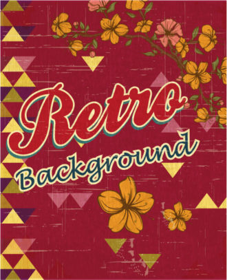 retro vector floral background with retro text and flowers Vector Illustrations summer