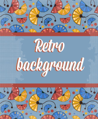 retro vector floral background with retro text and fan Vector Illustrations summer
