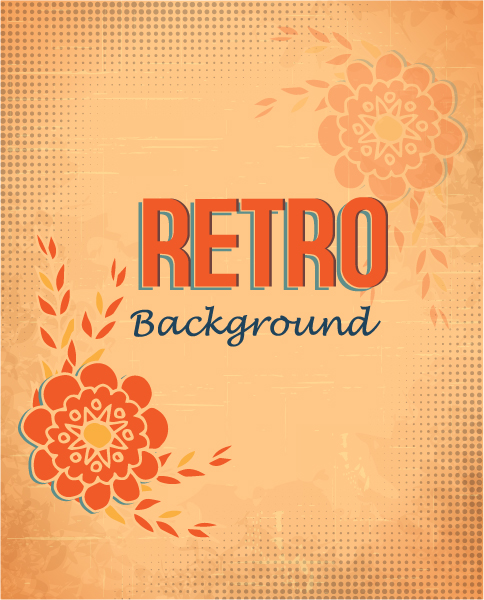 retro vector floral background with retro text and doodle flowers Vector Illustrations summer