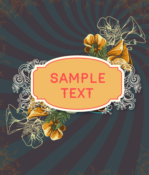 Text, Vector Artwork Retro Vector Floral Background  Retro Text, Flowers  Frame 1