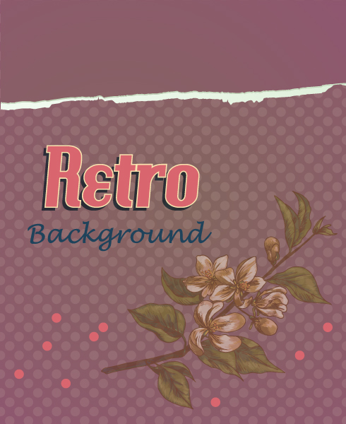 Unique Torn Vector Design: Retro Vector Design Floral Background With Floral Elements And Torn Paper 2015 04 04 787