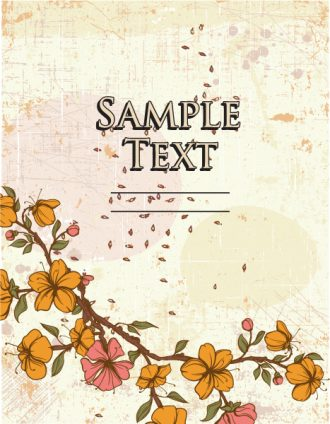 retro vector floral background with floral elements Vector Illustrations summer