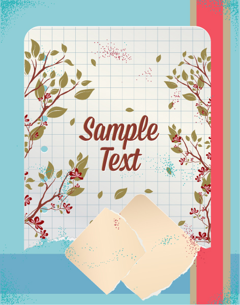 retro vector floral background with floral elements and torn paper Vector Illustrations summer