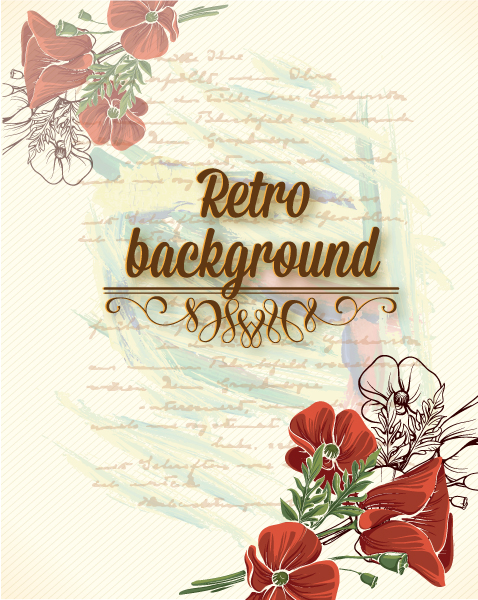 Bold Floral Vector: Retro Vector Floral Background With Floral Elements 5