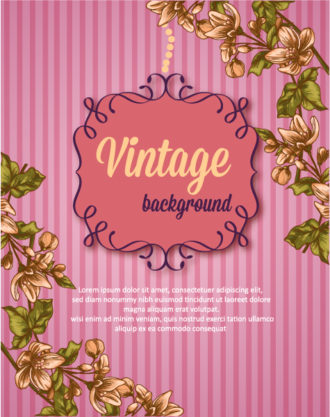 vintage vector illustration with floral frame and spring flowers Vector Illustrations old