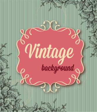 vintage vector illustration with floral frame and spring flowers Vector Illustrations old