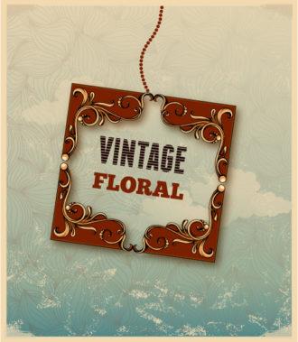 vintage vector illustration with floral frame Vector Illustrations old