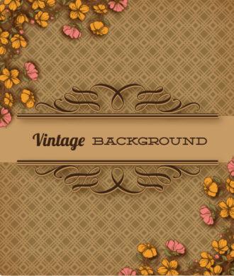 vintage vector illustration with spring flowers and floral frame Vector Illustrations old