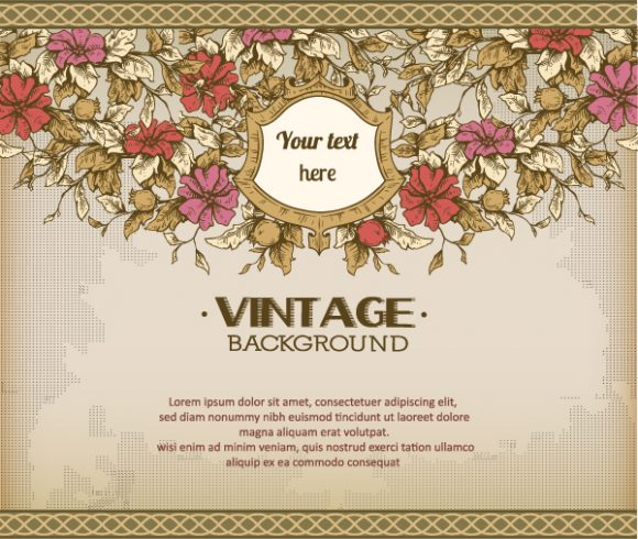 vintage vector illustration with spring flowers and frame 2015 04 04 894