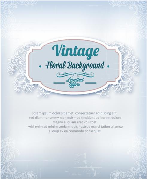vintage vector illustration with frame, spring flowers Vector Illustrations old