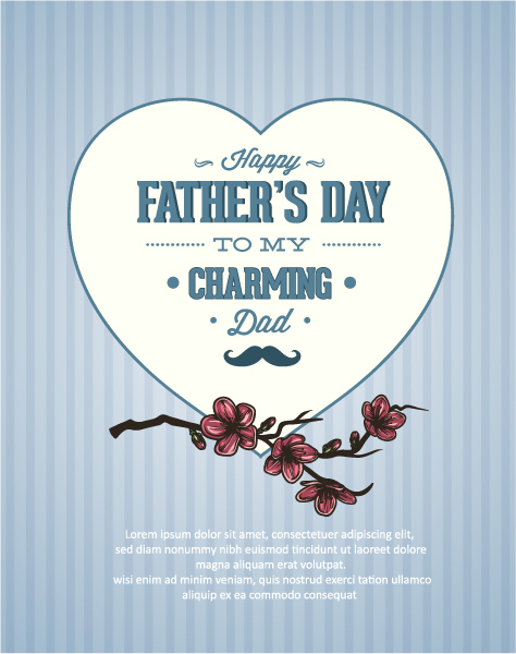 Special Type Vector Illustration: Fathers Day Vector Illustration Illustration With Vintage Retro Type Font, Flowers,heart 5
