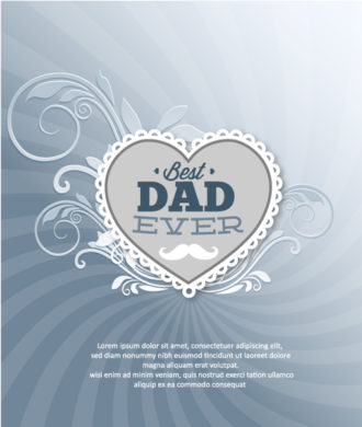 Father's Day vector illustration with vintage retro type font, flowers,heart Vector Illustrations old