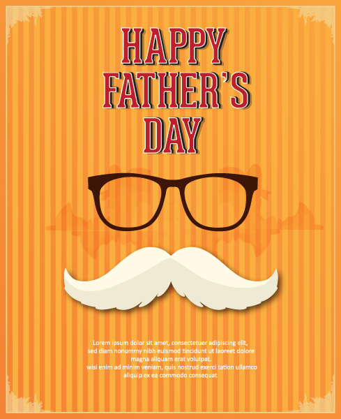 Father's Day vector illustration with vintage retro type font,glasses, moustache 2015 04 04 918