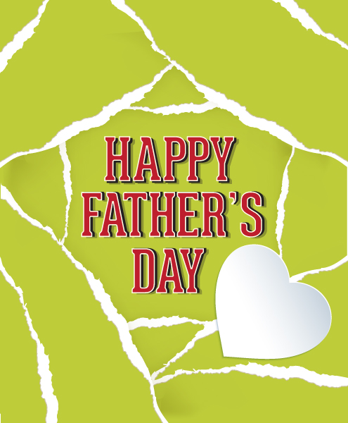 Father's Day vector illustration with vintage retro type font,torn paper,heart Vector Illustrations old