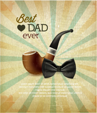 Father's Day vector illustration with vintage retro type font,flowers, bow and pipe Vector Illustrations old