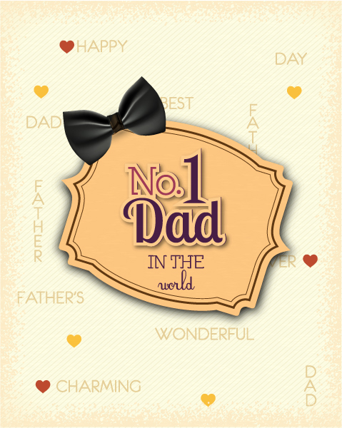 Father's Day vector illustration with vintage retro type font,bow, frame 2015 04 04 921
