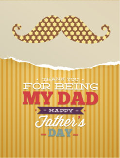 Father's Day vector illustration with vintage retro type font,moustache,flowers,torn paper Vector Illustrations old